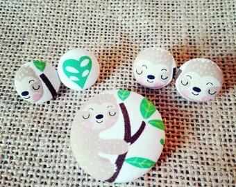 Sloth Earrings/Sloth Studs/Sloth Jewelry/Sloth Pinback Button/Sloth Pin/Sloth Button/Sloth Fabric Earring/ Sloth Dangles/Animal Jewelry