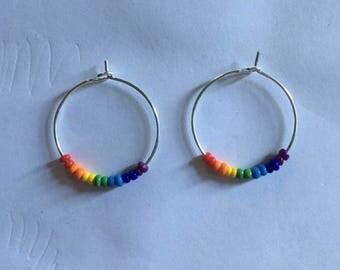 Rainbow beaded silver hoop earrings