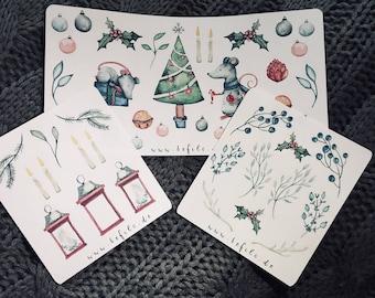 Christmas mouse sticker set