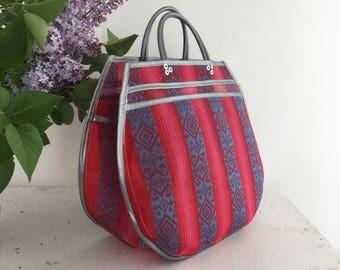 L - raspberry/silver Inca Tote