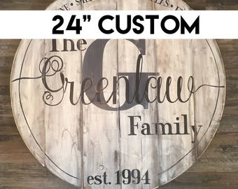 """24"""" round monogrammed family sign, rustic wood sign, monogrammed sign, custom sign, custom family sign, rustic family sign, wooden sign"""