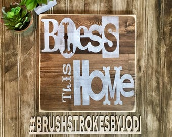 Bless this home, rustic wood sign, handpainted wooden signs, wood sign, wooden sign, home decor, rustic wood signs, wood decor, hanpainted