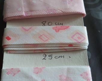 3 bias pattern in shades of pink new great quality