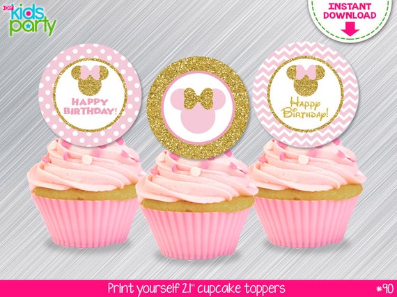 INSTANT DOWNLOAD Pink and Gold Minnie Mouse Cupcake ...