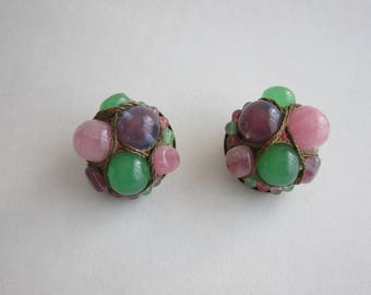 50s Gripoix clip earrings. Rare.