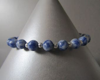 Semi Precious Blue Spot Stone & Silver Stardust Bead Bracelet Simple and Stunning!!!