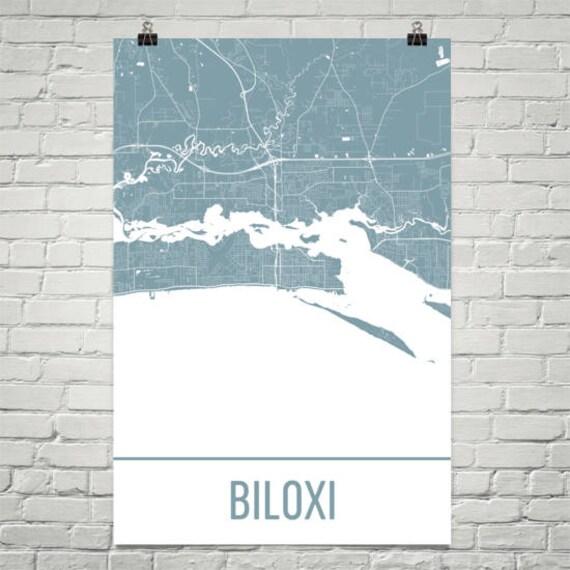 Biloxi Map Biloxi Art Biloxi Print Biloxi MS Poster