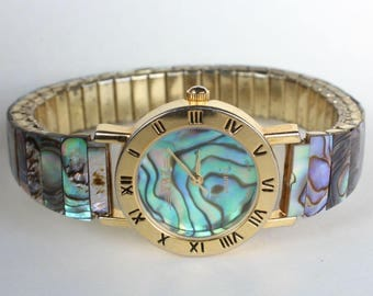 Natural Real Abalone Shell Watch Real Stone Stretchy Band Gift for Her Gemstone Birthday