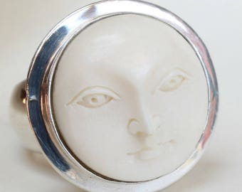 Sterling Silver Moon Face Ring Bone Face Sun Face Mystic