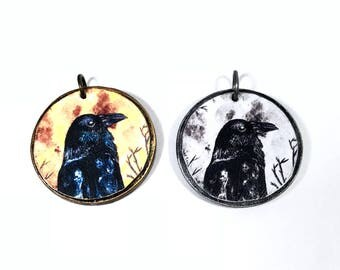 Raven Charm, Crow Pendant, Artisan Bird Findings, Jewelry Making, Handmade Jewelry Components, Paper Art Print Pendant, Spirit Animal, Goth
