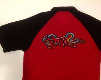 Vintage 90s JNCO red and black button up collar shirt / JNCO Jeans