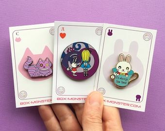 Alice in Wonderland Enamel Pin Set - Cheshire Cat - White Rabbit - enamel pins - Disney inspired - pin collector - pin game - alternative
