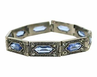 1920s Blue Glass Art Deco Design Vintage Bracelet
