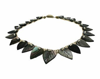1930s Mother of Pearl Leaf Vintage Collar Necklace