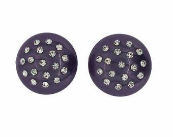 1950s Purple Lucite Rhinestone Studded Vintage Earrings