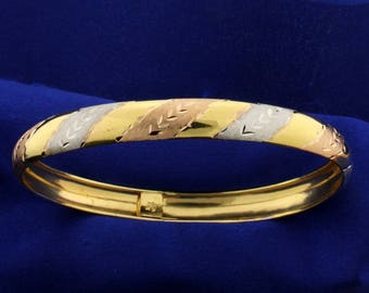 Rose, Yellow, and White Gold Bangle Bracelet