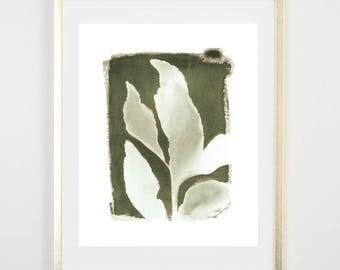 Green Botanical Cyanotype 4 PRINT / Handmade Art Print / Original Botanical Floral Cyanotype Photogram Art / 8x10