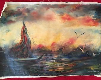 Marine art by Naci Caba - Original Oil Painting