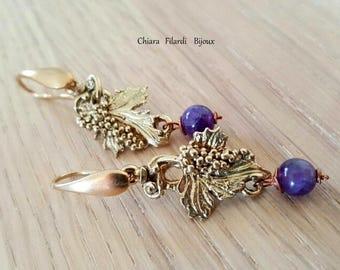 earrings vine leaf and grapes