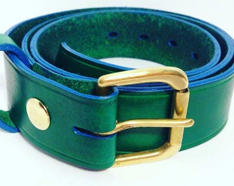 Green Belt with a blue edge 38mm