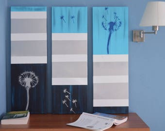 triptych wall panel acrylic painting
