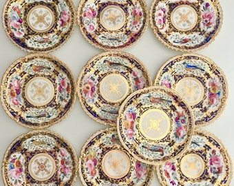 Spectacular antique set of 10 dinner plates, hand painted birds, Coalport 1820-1825