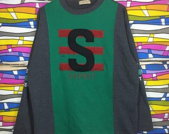 Rare!! ESPRIT Sweatshirt Big Logo Spellout Pullover Jumper