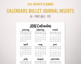 2018 Calendar Year at a Glance Page A5 or Sticker - Bullet Journal Printable PDF