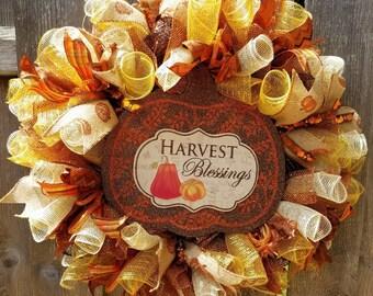 Harvest Wreath, Fall Wreath, Fall Front Door Wreath,   Fall Deco Mesh Wreath, Front Door Wreath Fall, Harvest Wreath, Fall Door Decor