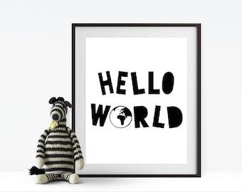 Hello World nursery print, nursery digital prints, nursery decor, nursery wall decor, digital prints, wall art, wall print, typography print