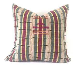 Adaba - Green and Beige Vintage African Cloth Aso-Oke Pillow. High Quality Velvet Back Fabric, Mud Cloth Style