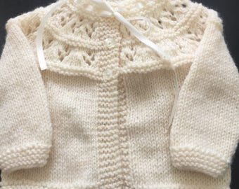Baby Girls cream Cardigan sweater 0-3 month size Hand knitted with satin ribbon detail baby shower gift - Ready to Ship!