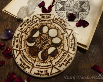 Wheel of the year-Pentacle-moon phases year wheel