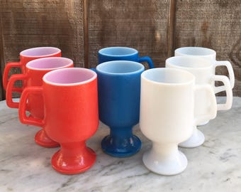 Federal Glass Milk Glass Red, White and Blue Mugs // 1960's // Set of 8