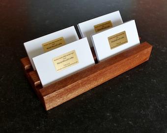 Multiple Business Card Holder. Multiple Business Card Stand. Business Card Display. Hotel Reception. Shop Counter. Sapele Hardwood.