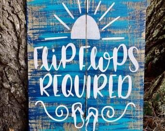 Flip Flops Required Sign, Flip Flop Sign, Wood Sign, Beach Decor, Florida Decor, Beach Sign, Reclaimed Wood, Flip Flop Decor, Home Decor