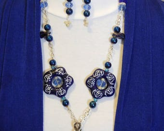 Bold blue beautiful tasseled necklace with earrings