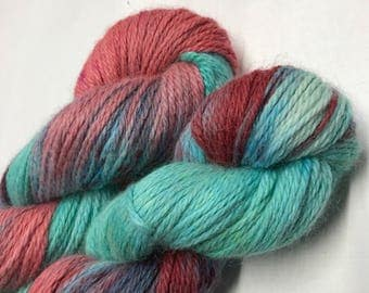 100g Superfine Alpaca / Silk Aran Yarn, hand dyed in Scotland, turquoise, coral variegated, so soft and squishy!