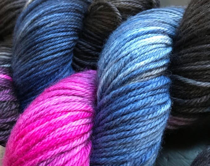 "100g 100% Superwash Merino DK double knit yarn, hand dyed in Scotland, pink navy, charcoal grey, ""skyrie rigoot"""