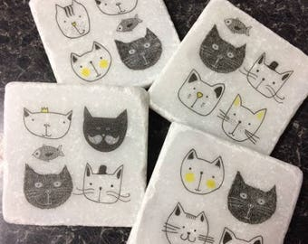 Comic Cats! Set of 4 Marble Coasters