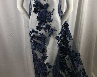 Bridal Fabric - Navy Lace 3D Flower-Floral Embroidered Mesh Beaded By The Yard