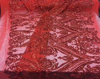 2 Way Stretch Fabric - Red Embroidered Sequins Lace Fashion - By The Yard