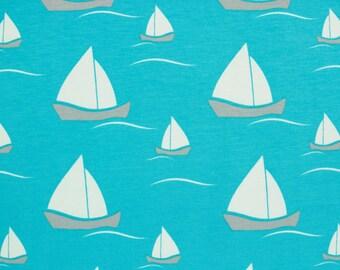 Baumwollsweat Raik sailing ships on turquoise (20.90 EUR/meter)