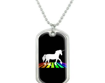 Unicorn Crossing Rainbow Military Dog Tag Pendant Necklace with Chain