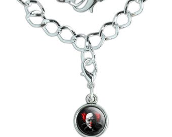 Scary Clown Face Silver Plated Bracelet with Antiqued Charm