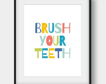 50% OFF Brush Your Teeth Print, Kids Bathroom Decor, Bathroom Print, Bathroom Art, Brush Your Teeth Nursery Bathroom, Printable Kids Gift