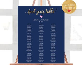 Wedding Seating Chart Alphabetical - Navy Gold Wedding - Welcome Wedding - Seating Chart - Wedding Sign -  Downloadable wedding #WDH812289
