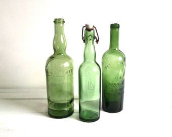 French vintage olive green glass bottle