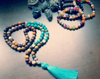 Jasper turqoise gemstone Mala necklace
