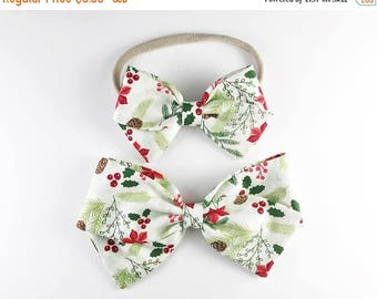 BLACK FRIDAY Christmas Foliage - Baby, Toddler, Girls Fabric Bow Headband or Clip, Christmas Headband, Christmas Bow, Nylon Bow Headband, Bo